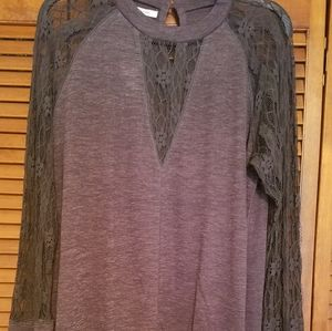 NWT Maurices lace sleeve shirt